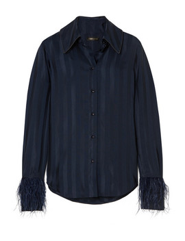 Mei Feather Embellished Striped Satin Jacquard Shirt by Stine Goya