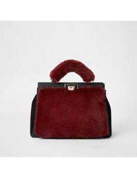 Dark Red Faux Fur Triple Compartment Bag by River Island