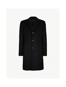 Single Breasted Wool And Cashmere Blend Coat by Boss