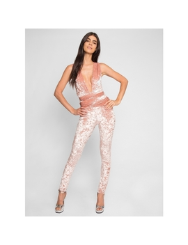 Persuation Crushed Velvet Jumpsuit In Pink by Wet Seal
