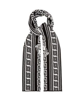 Medusa Intarsia Cotton Blend Scarf by Versace
