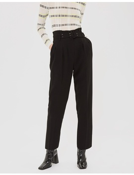 Belted Eyelet Peg Trousers by Topshop