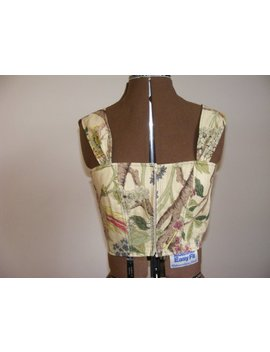 Sale!!! Corset Style Crop Top In Beige With Tree/Flower Pattern by Etsy