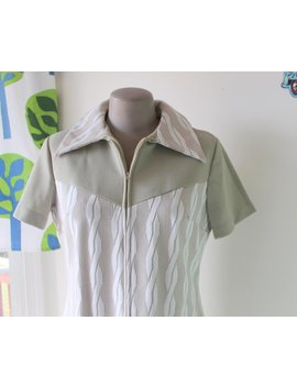 1970s Twiggy Mod Dress..Medium. Retro. Mod Dress. Geometric. 1960s Dress. Tan. Nude. Mod. Costume. Disco. Gogo. Mid Century. Short Sleeved by Etsy