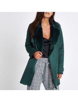 Petite Dark Green Faux Fur Fallaway Jacket by River Island