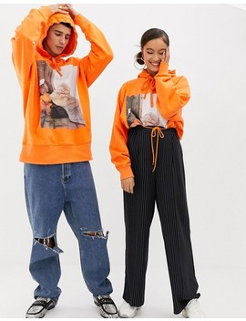 Collusion Unisex X Rene Matic   Hoodie Oversize Imprimé   Orange by Collusion