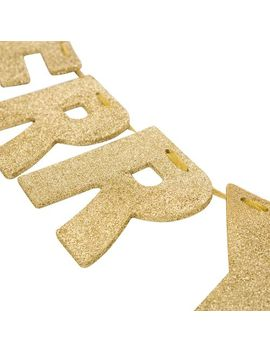 Gold Glittered Merry Christmas 9' Banner by Pier1 Imports