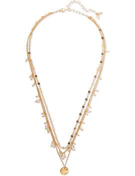 Mehrreihige Vergoldete Kette Mit Perlen by Chan Luu