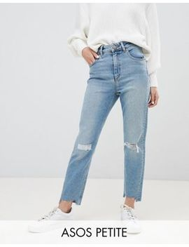 Asos Design Petite Farleigh High Waist Slim Mom Jeans In Light Vintage Wash With Busted Knee And Rip & Repair Detail by Asos Design