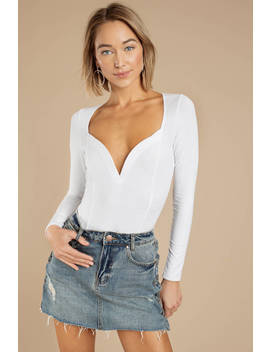 Maybell White Sweetheart Neckline Bodysuit by Tobi