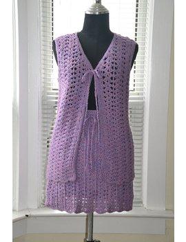 Vintage 60s/70s Knit Set   Lilac Haze   Crocheted Vest & Mini Skirt   Boho Festival Chic   S/M by Etsy
