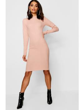 Turtle Neck Ribbed Dress With Long Sleeve by Boohoo