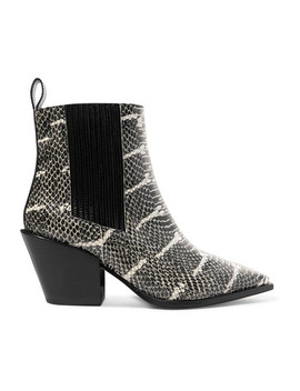 Kate Snake Effect Leather Ankle Boot by Aeydē