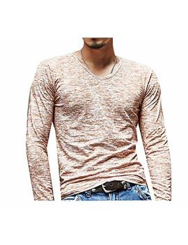 Winwinus Mens Long Sleeve Notch Collar T Shirts Bottoming Shirt Vogue Tops by Winwinus