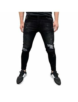 Overmal Mens Stretch Denim Pant Distressed Ripped Freyed Slim Fit Printed Jeans Trousers by Overmal Men Jeans