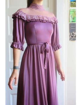 70s Union Made Silky Purple Lace Off The Shoulder Dress by Etsy