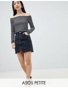Asos Design Petite   Microgonna Di Jeans Nero Délavé by Asos