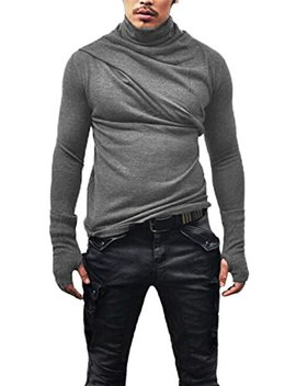 Men's Slim Fit Soft Turtleneck Long Sleeve Pullover Thermal T Shirt by Xaraza