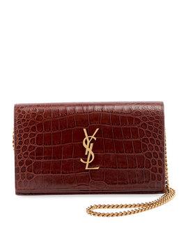 Kate Monogram Ysl Croco Wallet On Chain by Saint Laurent