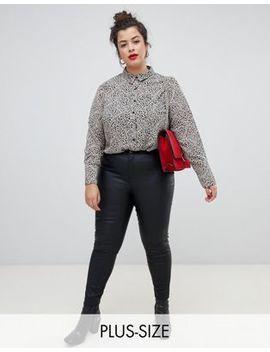 River Island Plus Molly Coated Skinny Jeans In Black by River Island Plus