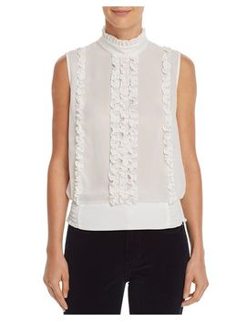 Ruffled Button Back Top by Frame