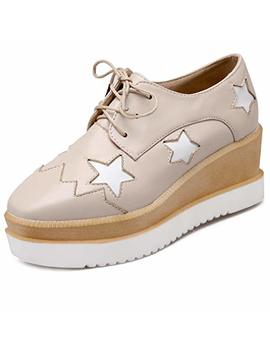 Platform Wedge Oxfords Shoes For Women Wingtip Lace Up Chunky High Heel Stars Classic Dress Pumps by Giy