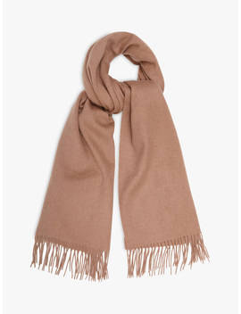 Reiss Saskia Lambswool And Cashmere Fringe Scarf, Taupe by Reiss