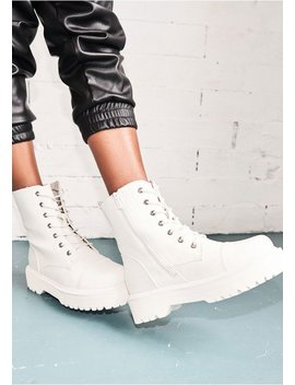 Tamia White Faux Leather Chunky Lace Up Boots by Missy Empire