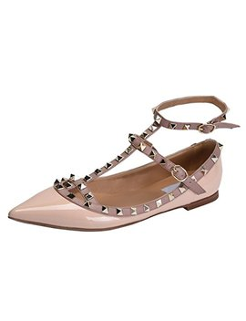 Jiu Du Women's Sexy Ankle Strap Flats Shoes Pointed Toe Fashion Rivets Party Shoe by Jiu Du