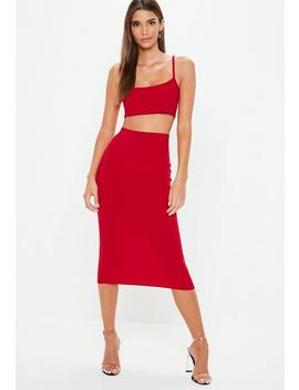 Red Cami Top Skirt Co Ord Set by Missguided