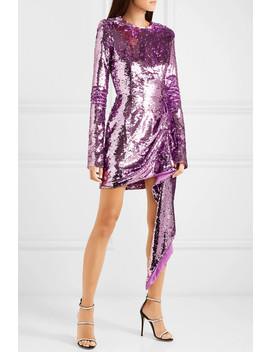 Draped Sequined Crepe Mini Dress by 16 Arlington