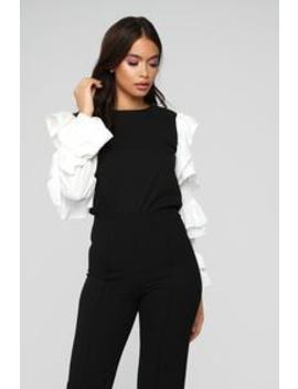 Business Chic Ruffle Blouse   Black by Fashion Nova