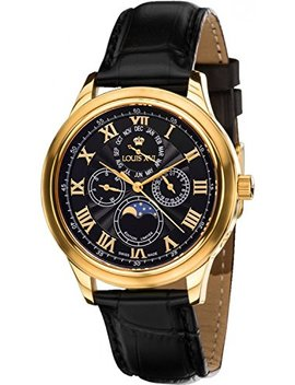 Louis Xvi Men's Watch Élysée L'or Noir Swiss Made Moonphase Analog Quartz Genuine Leather Black 563 by Louis Xvi