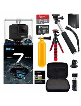 Go Pro Hero7 Hero 7 Black Action Camera + Go Pro Battery + Polaroid 8 Gb And 16 Gb Sdhc Memory + Monopod + Flexi Tripod + Float Handle + Hard Shell Case + Card Reader + Extras by Ritz Camera
