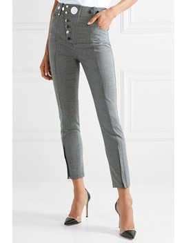 Button Embellished Houndstooth Woven Skinny Pants by Alexander Wang