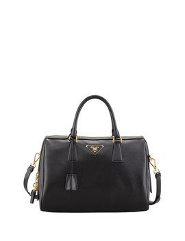 Saffiano Bowler Bag With Strap, Black (Nero) by Prada