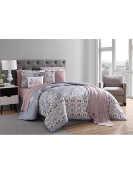 Essential Home 12pc. Comforter Set – Gray And Blush Paisley Essential Home 12pc. Comforter Set – Gray And Blush Paisley by Essential Home