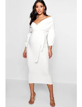 Maternity Off The Shoulder Wrap Midi Dress by Boohoo