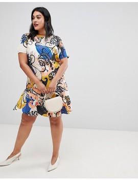 Ax Paris Plus Bright Floral Midi Peplum Dress by Plus Size Dress