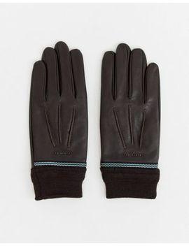 Кожаные перчатки с манжетами в рубчик Ted Baker by Asos