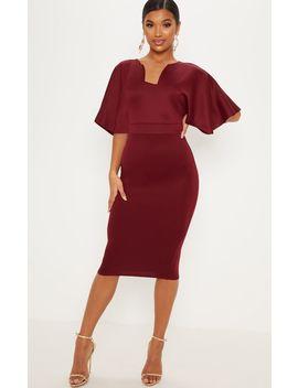 Burgundy Plunge Cape Sleeve Midi Dress by Prettylittlething