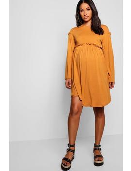 Maternity Long Sleeve Smock Dress by Boohoo