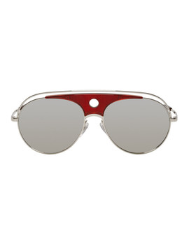 Silver & Red Toujours Aviator Sunglasses by Alain Mikli Paris