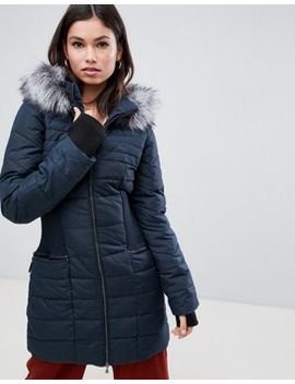 Y.A.S Gathered Waist Parka With Faux Fur Trim Hood by Y.A.S.