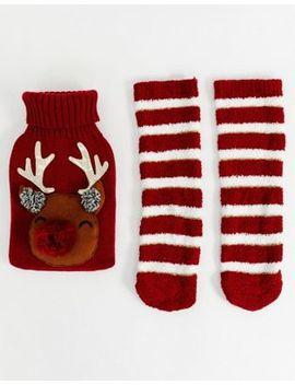 Asos Design Christmas Reindeer Hot Water Bottle And Socks Pack by Asos Design