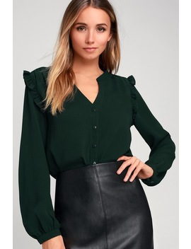 Fatima Dark Green Ruffled Long Sleeve Button Up Top by Lulus
