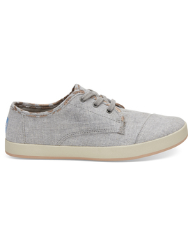 Drizzle Grey Slub Chambray With Cheetah Print Women's Paseo Sneakers by Toms
