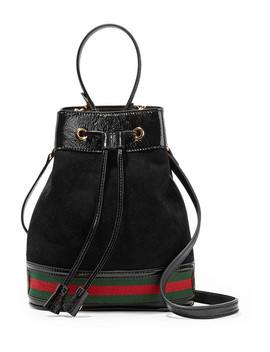Ophidia Small Textured Leather Trimmed Suede Bucket Bag by Gucci