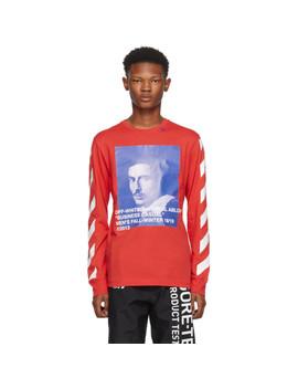 Red Diagonal Bernini Long Sleeve T Shirt by Off White