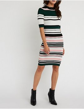 Striped Ribbed Midi Dress by Charlotte Russe